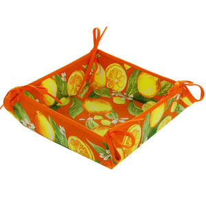 Lemons Orange Cotton Breadbasket