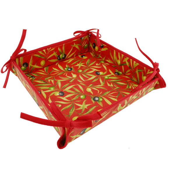 Olive Baux Red Coated Cotton Breadbasket