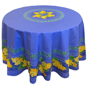 Grape Blue Round & Rectangular Coated Cotton Tablecloth - choose your size
