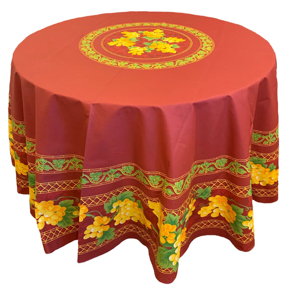 Grape Red Round & Rectangular Coated Cotton Tablecloths - choose your size