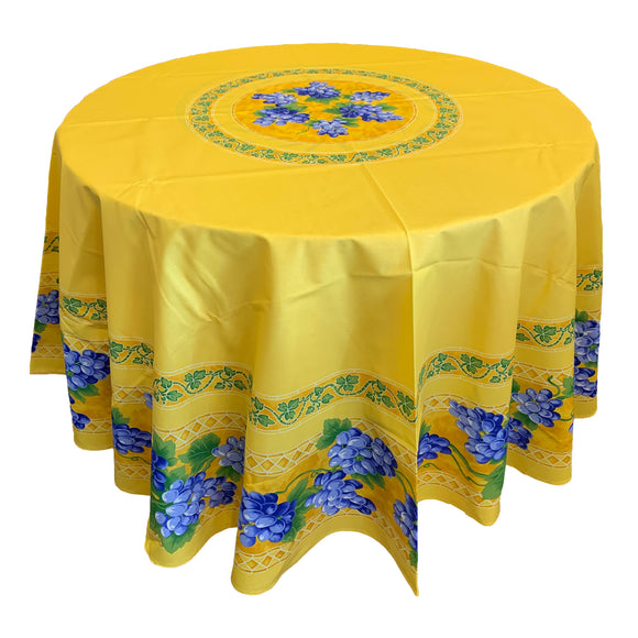 Grape Yellow Round & Rectangular Coated Cotton Tablecloth - choose your size