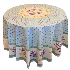 Lavender Blue Round & Rectangular Coated Cotton Tablecloth - choose your size