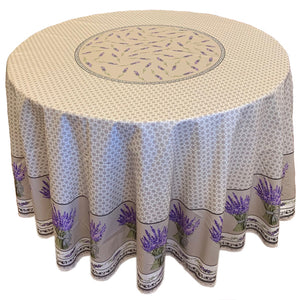 "Lavender Bouquet Natural 70"" Round Coated Cotton Tablecloth"