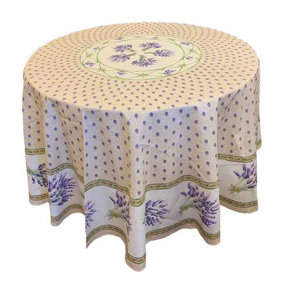 Lavender Natural Round & Rectangular Coated Cotton Tablecloth - choose your size