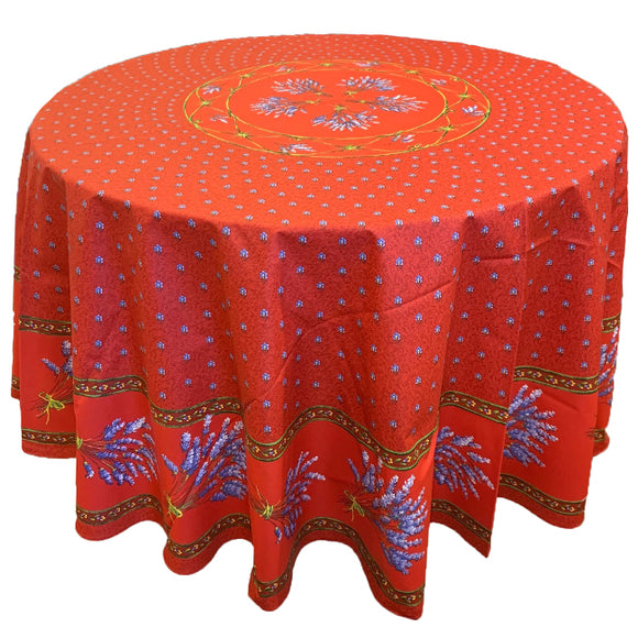 Lavender Red Round & Rectangular Coated Cotton Tablecloth - choose your size