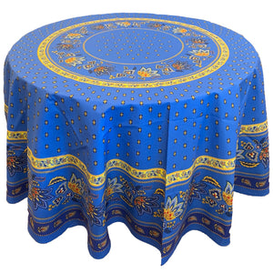 Lisa Blue Round & Rectangular Coated Cotton Tablecloth - choose your size