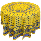 Lisa Yellow/Blue Round & Rectangular Coated Cotton Tablecloth - choose your size