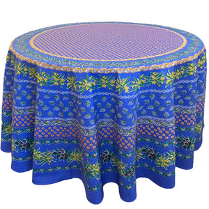 Olive Mimosa Blue Round & Rectangular Coated Cotton Tablecloth - choose your size