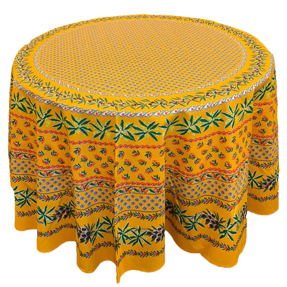Olive Mimosa Yellow Round & Rectangular Coated Cotton Tablecloth - choose your size