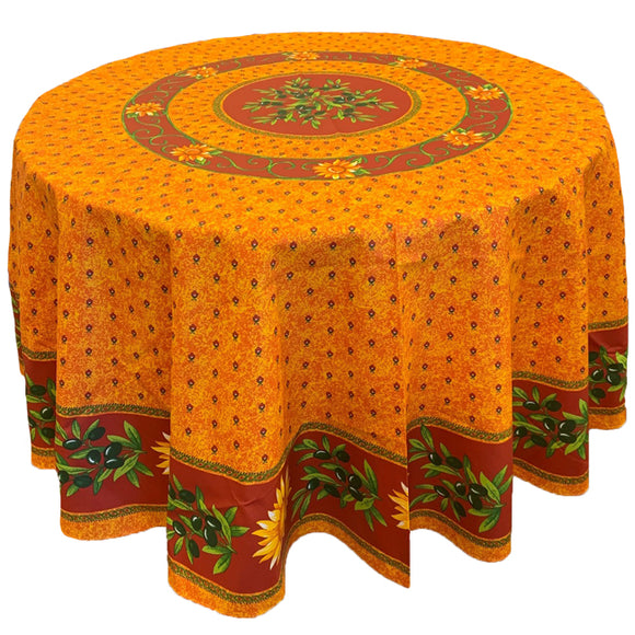 Sunflower Yellow/Red Round & Rectangular Coated Cotton Tablecloth - choose your size