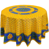 Sunflower Yellow/Blue Round & Rectangular Coated Cotton Tablecloth - choose your size