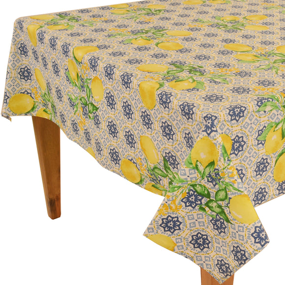 Gorbi Blue Rectangular Coated Cotton Tablecloth - choose your size