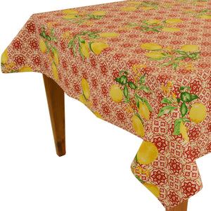 "Gorbi Red Rectangular Coated Cotton Tablecloth (63""x98"" only)"