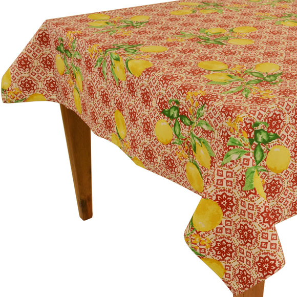 Gorbi Red Rectangular Coated Cotton Tablecloth (63