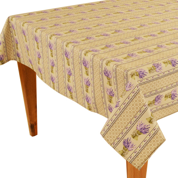 Lavender Bouquet Natural Rectangular Coated Cotton Tablecloth (63