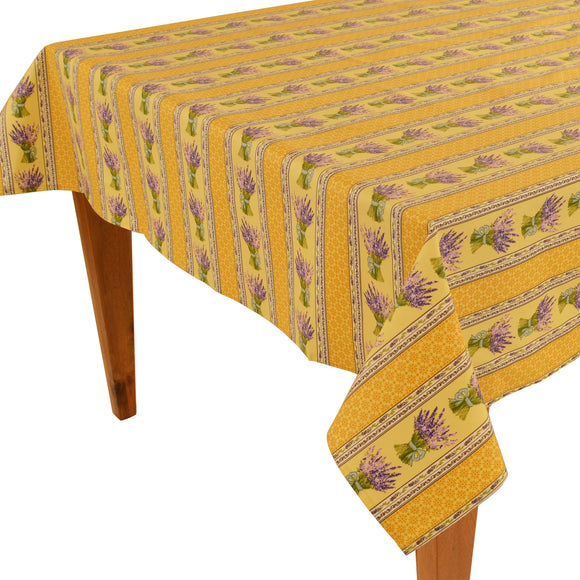 Lavender Bouquet Yellow Rectangular Coated Cotton Tablecloth - choose your size