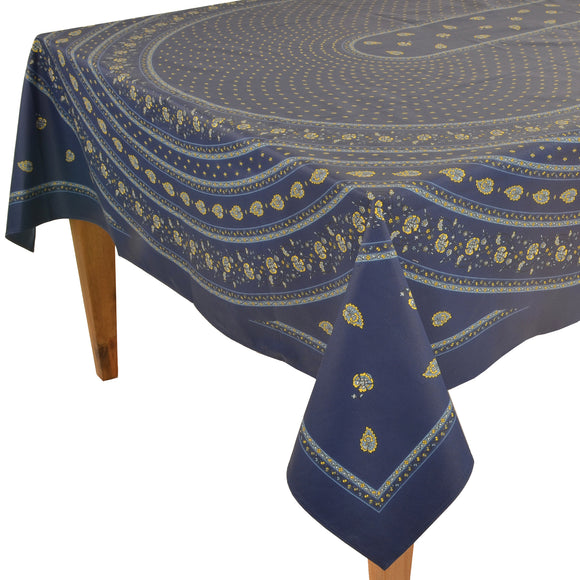 Palmette Blue Rectangular Coated Cotton Tablecloth - Rectangular 63