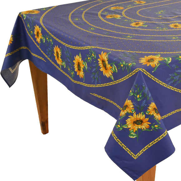 Sunflower Blue Rectangular Coated Cotton Tablecloth (63