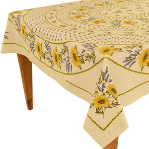 "Sunflower Natural Rectangular Coated Cotton Tablecloth - Rectangular 63""x98"""