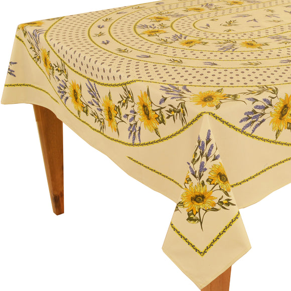 Sunflower Natural Rectangular Coated Cotton Tablecloth (63