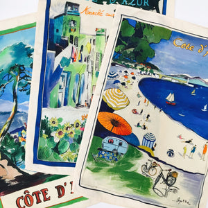 "Cote d'Azur Watercolor 20""x28"" Jacquard Dishtowel - set of 3"