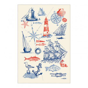 "Voiliers 19""x28"" Cotton French Image Dishtowel"