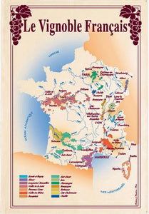 "French Wine Map 19""x28"" Cotton French Image Dishtowel"