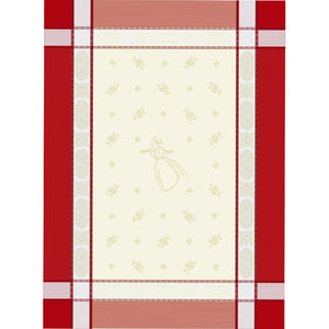 "Arlesienne Natural/Red 20""x28"" Jacquard Dishtowel"