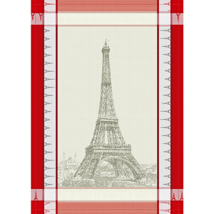 "Eiffel Tower Natural/Red 20""x28"" Jacquard Dishtowel"