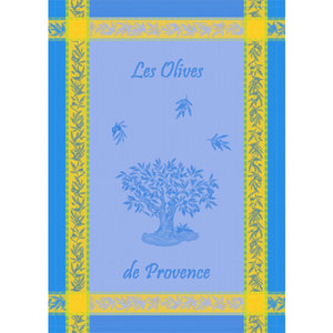 "Olive Tree Blue 20""x28"" Jacquard Dishtowel"