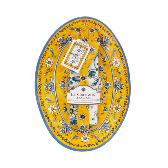Benidorm Oval Platter, Server and Dishtowel Gift Set