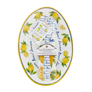 Lemon Basil Oval Platter, Server and Recipe Tea Towel Gift Set