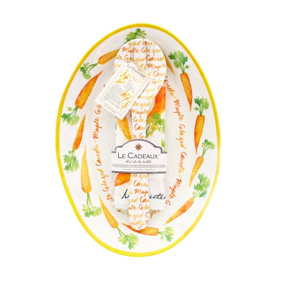Carrots Oval Platter, Server and Recipe Tea Towel Gift Set