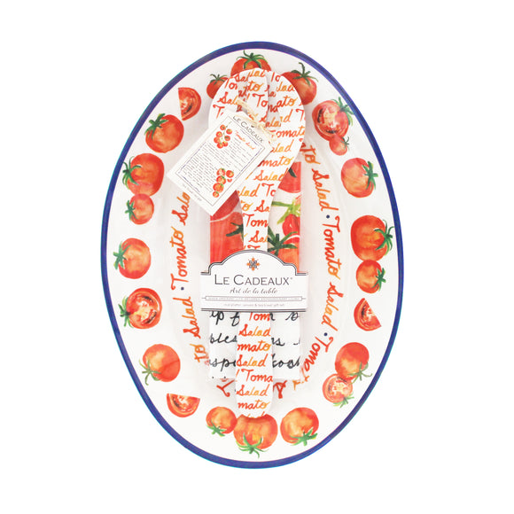 Tomato Oval Platter, Server and Recipe Tea Towel Gift Set