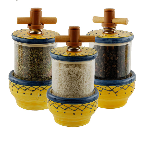 Frise Yellow/Blue Ceramic Herb Grinder - Choose your filling