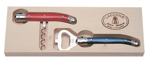 Red & Blue Corkscrew & Bottle Opener Set  - Laguiole by Jean Dubost