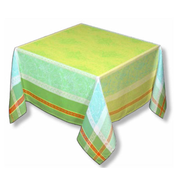 Anais Green Jacquard Tablecloth - choose your size