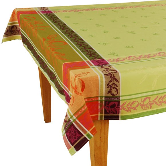 Citrus Green Jacquard Tablecloth (63