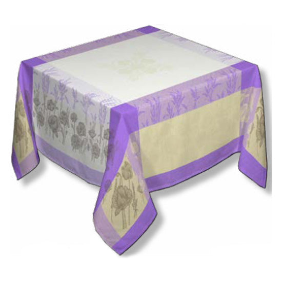 Coquelicot Purple Jacquard Tablecloth - choose your size