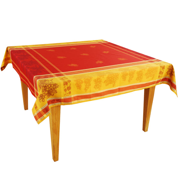 Grapes Red Yellow Cotton Jacquard Tablecloth Made in France