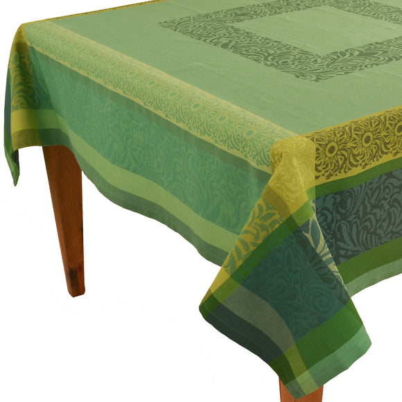 Bargeme Green Jacquard Tablecloth - choose your size