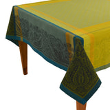 Kashmir Turquoise Jacquard Tablecloth - choose your size
