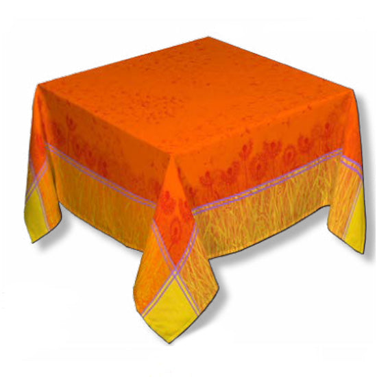 Sandy Orange Jacquard Tablecloth - choose your size