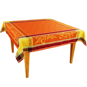 Citrus Orange Jacquard Tablecloth - choose your size