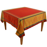 "Seguret Red 63""x63"" Square Jacquard Tablecloth"