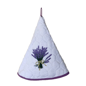 "Lavender White 28"" Round Terry Dishtowel"