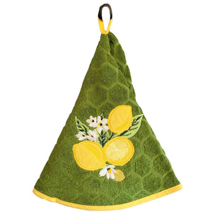 "Lemons Green 28"" Round Terry Dishtowels"