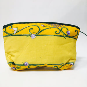 "Lavender Bunch Yellow Cotton Makeup Bags 10""x7"""