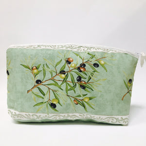 "Olive Baux Green Cotton Makeup Bags 10""x7"""