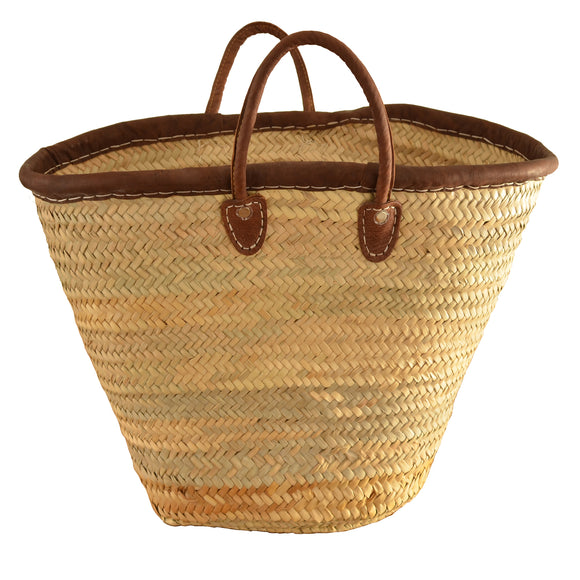 Erfoud Dark Leather French Market Basket